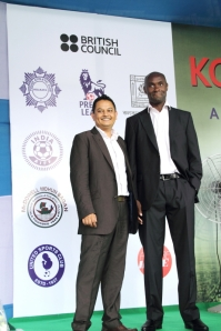 Premier League trainers Rubel Ahmed from the Active Communities Network and Michael Nyarko, the Social Inclusion Manager of Crystal Palace Football Club
